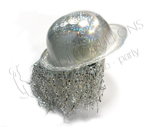 Bombetta argento metallizzata con frange