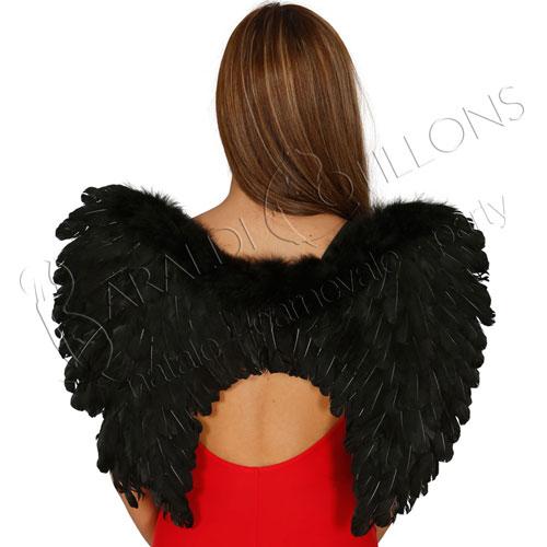 Ali angelo nere con piume