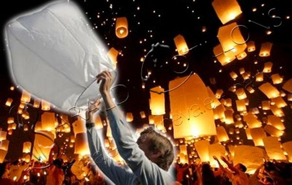 Lanterna volante bianca - mongolfiera