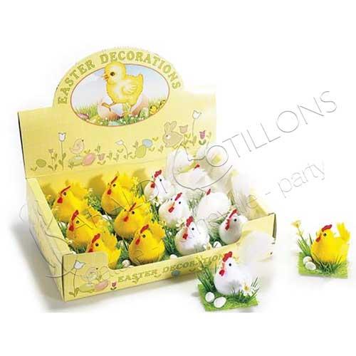 Galline con uova e fiori confezione da 2 pezzi