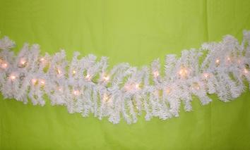 Ghirlanda pino bianca con luci cm 275