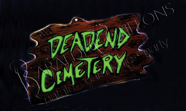 Insegna Deadend Cemetery 3D fluo cm 43