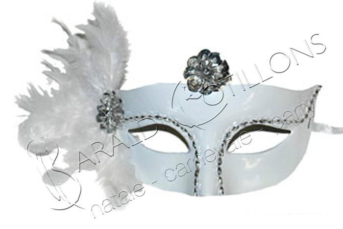 Maschera bianca con piume
