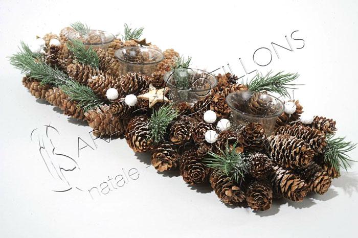 Centrotavola rettangolare con 4 portacandele cm 48 feste a tema baraldi cotillons - Decorazioni natalizie moderne ...