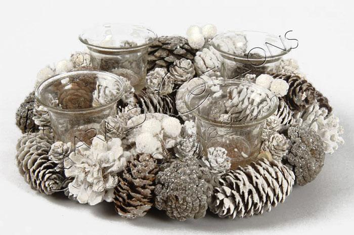 Centrotavola tondo con 4 portacandele cm 26 natale - Decorazioni natalizie con le pigne ...