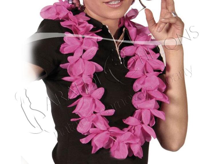 Collana hawaiana con fiori fucsia