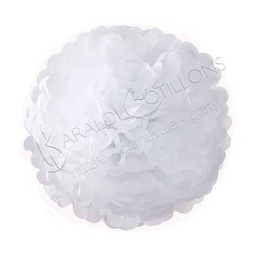 Decoro pon pon in carta bianco cm 35