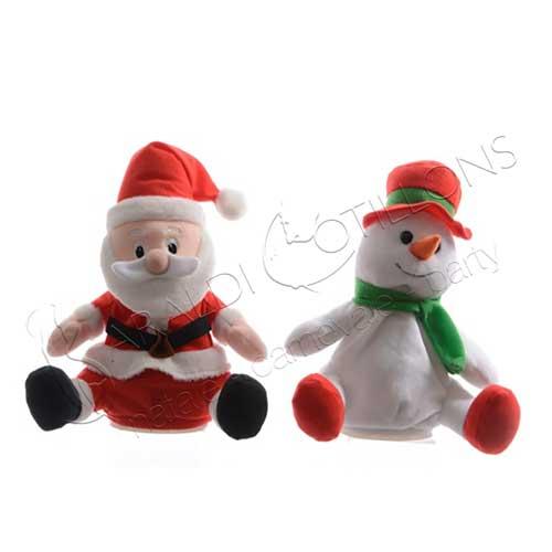 Pupazzo natalizio salterino e parlante cm 20