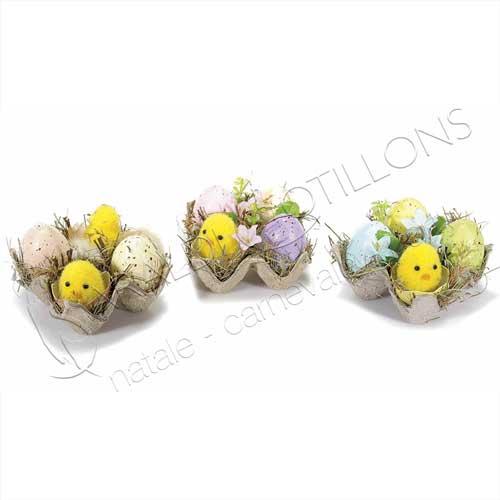 Decoro Pasquale con uova pulcini e fiori cm 10