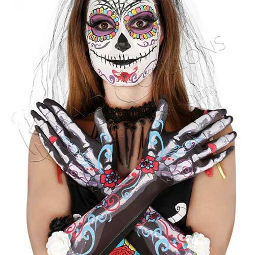 Guanti scheletro con fiori