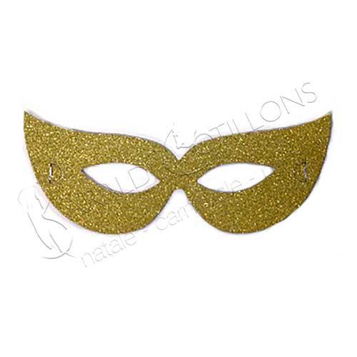 Maschera Glitterata oro in cartoncino set 6 pezzi