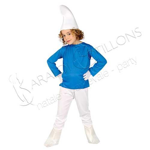 Costume stile Puffo Bimbo 7 - 9 anni