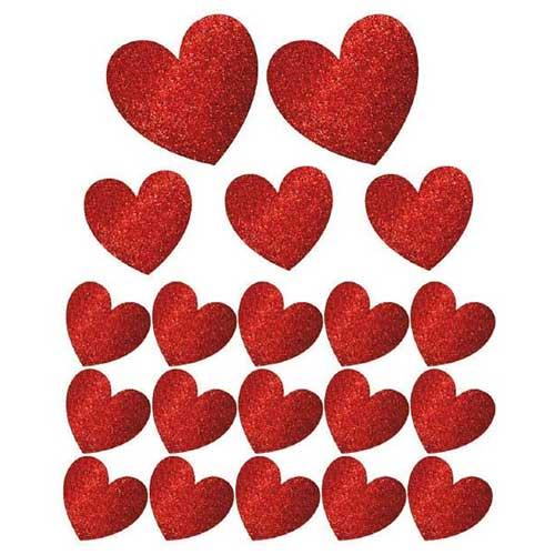 Decori Glitter San Valentino set 20 pezzi