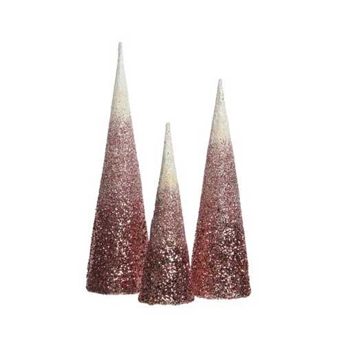 Alberini a cono glitterati rosa set 3 pezzi