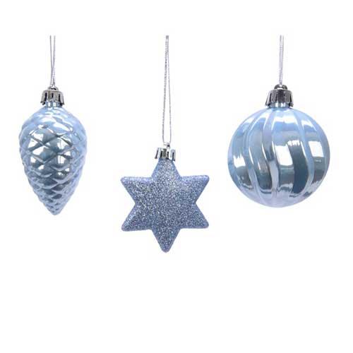 Addobbi per albero di Natale colore steel blue set 3 pezzi