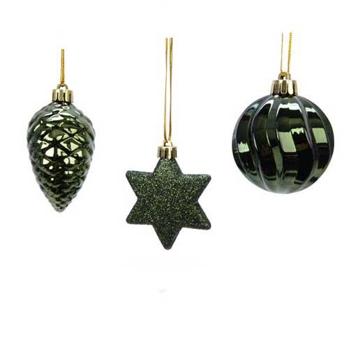 Addobbi per albero di Natale colore pine green set 3 pezzi