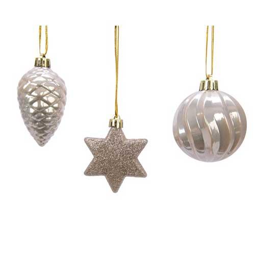 Addobbi per albero di Natale colore perla set 3 pezzi
