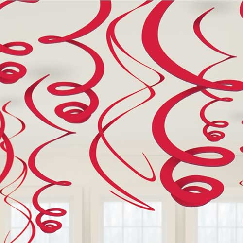 Decoro spirali rosse cm 56 set 12 pezzi