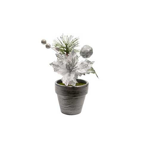 Stella di Natale decoro argento in vaso cm 16