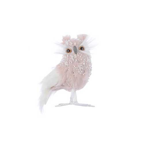 Gufo blush pink in peluche con strass cm. 12