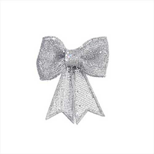 Fiocco di Natale Glitter Argento cm. 13