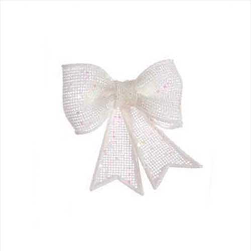 Fiocco di Natale Glitter Bianco cm. 13