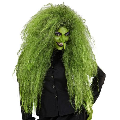 Parrucca strega verde maxi