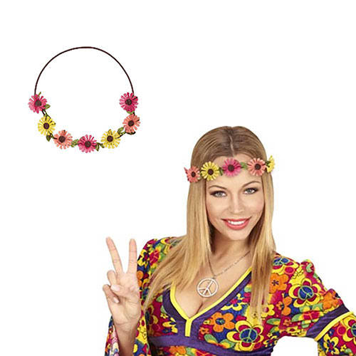 Coroncina Hippie con margherite Multicolor